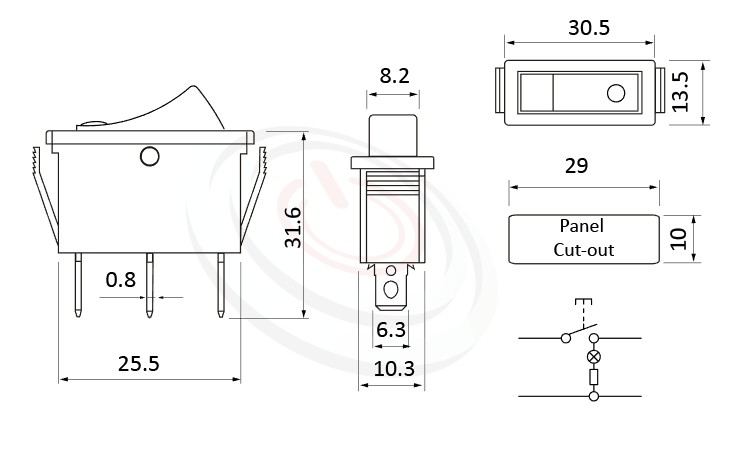 RS-606-10116LBB 尺寸圖, 面板尺寸30x13mm,翹板開關Rocker Switch ,16A 250VAC,ON-OFF ,SPST,1P1T