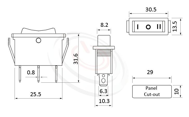 RS-606-10314NBB 尺寸圖, 面板尺寸30x13mm,船型開關Rocker Switch ,16A 250VAC,ON-OFF-ON ,SPDT,1P2T