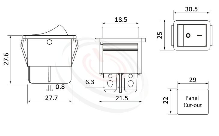 RS-606-20111LRB 尺寸圖, 面板尺寸30x25mm,翹板開關Rocker Switch ,16A 250VAC,ON-OFF ,DPST,2P1T