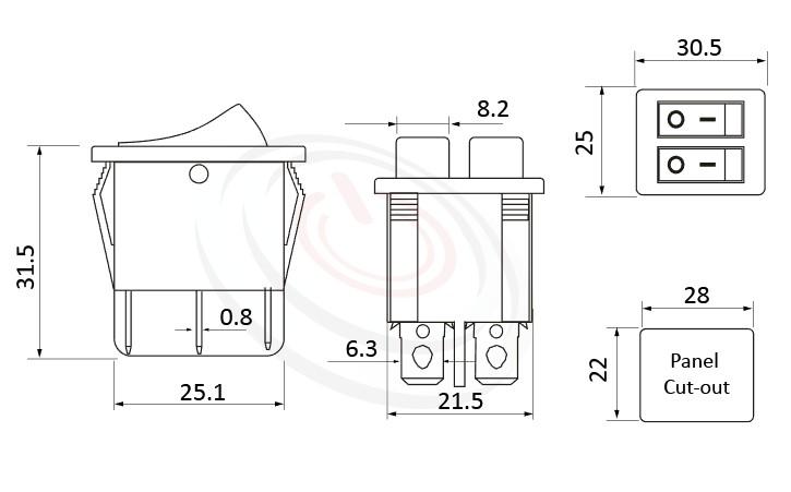 RS-606A-20111LRB 尺寸圖, 面板尺寸30x25mm,翹板開關Rocker Switch ,16A 250VAC,ON-OFF ,DPST,2P1T