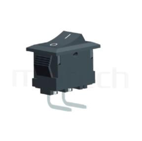 RS-601HL-10131NBB 系列-翹板開關Rocker Switch ,15x10mm ,90度彎腳 ,3A 250VAC, 6A 125VAC,ON-OFF ,SPST,1P1T迴路