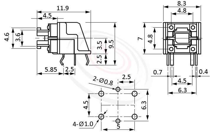 TRL-615TP系列 尺寸圖 帶燈按鈕開關LED Pushbutton Switch , ,尺寸 前後寬度12 , 版上高度7mm ,無鍵帽,臥式,90度側按,DIP ,底部平貼PCB易安裝