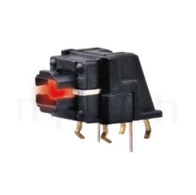 TRL-615TP 系列-帶燈輕觸開關LED Tact Switch ,無鍵帽,臥式,90度側按,DIP ,底部平貼PCB易安裝 ,尺寸 前後寬度12 , 版上高度7mm ,