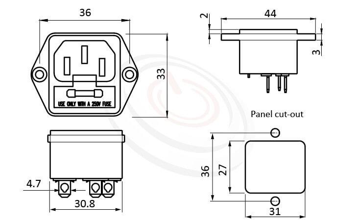 JR-101-1F-AC 尺寸圖 AC電源插座AC SOCKET ,3PIN焊線端子,180度,IEC 60320 C14, AC 插座+保險絲,二合一插座,螺絲鎖付,AC-021A DB-14 R-3015,AC INLET,安規VDE,CCC,UL,cUL,ENEC,