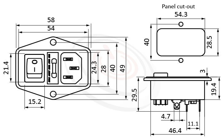 JR-101-1FR-03-AC 尺寸圖 AC電源插座AC INLET ,3PIN焊線端子,180度,IEC 60320 C14, AC 插座+保險絲+開關,三合一插座,螺絲鎖付,AC-023A DB-14-F5 R-3013S,AC INLET,安規UL,cUL,ENEC,VDE,CCC,