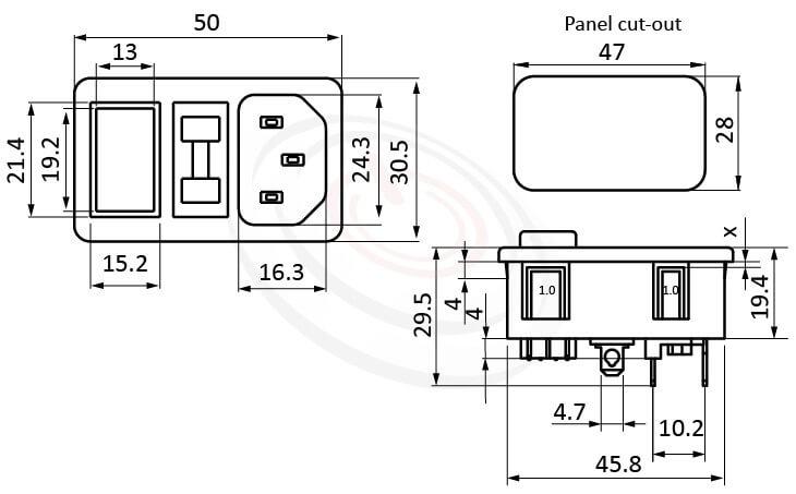 JR-101-1FRS-04-AC 尺寸圖 交流插座AC POWER SOCKET ,3PIN焊線端子,180度,IEC 60320 C14, AC 插座+保險絲+開關,三合一插座,卡式,AC-023B DB-14-F3 DB-14-F4 R-3014S,AC INLET,安規VDE,CCC,UL,cUL,ENEC,