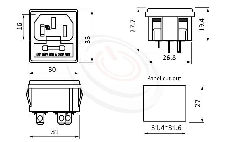 JR-101-1FS-AC 尺寸圖 AC電源插座AC SOCKET ,3PIN焊線端子,180度,IEC 60320 C14, AC 插座+保險絲,二合一插座,卡式,AC-021B DB-14-F2 R-3016,安規UL,cUL,ENEC,VDE,CCC,AC INLET,