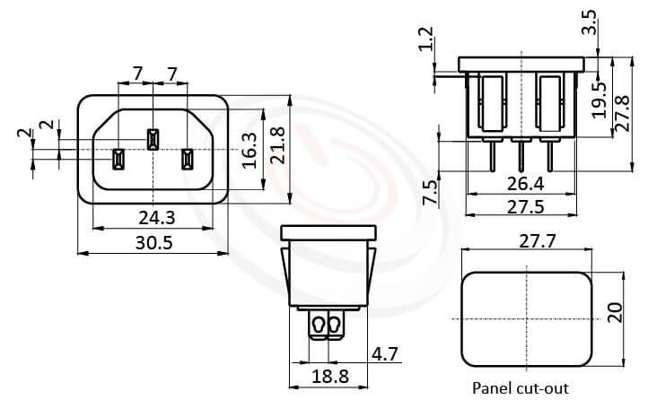 JR-101S-AC 尺寸圖 交流插座AC INLET/OUTLET ,3PIN焊線端子,180度,IEC 60320 C14, AC 插座,卡式,AC-011 AC-012 DB-14-2F R-301SN,AC INLET,安規UL,cUL,ENEC,VDE,CCC,