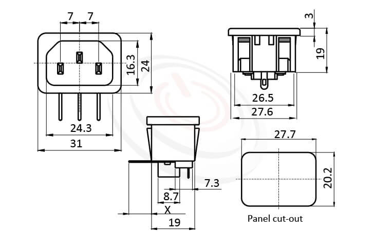 JR-101SGPCA-AC 尺寸圖 交流插座AC INLET/OUTLET ,3PIN,90度 90° DIP,IEC 60320 C14, AC 插座,卡式,AC-013 AC-014 DB-14-2P R-301SN,安規UL,cUL,ENEC,VDE,CCC,AC INLET,