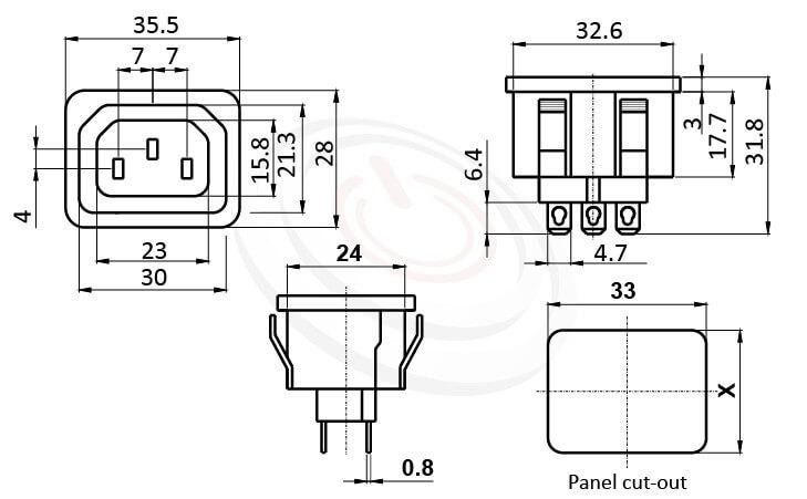 JR-121S-G-AC 尺寸圖 交流插座AC POWER SOCKET ,3PIN焊線端子,180度,IEC 60320 F,C13 AC 插座,卡式,AC-016 DB-F-2 R-302SN,AC OUTLET,UL,cUL,ENEC,VDE,CCC