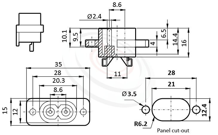 JR-201-AC 尺寸圖 AC電源插座AC INLET ,2PIN焊線端子,180度,IEC 60320 C8,8字型,螺絲鎖付,AC-017 DB-8 R-201A,AC INLET,安規VDE,CCC,UL,cUL,ENEC,