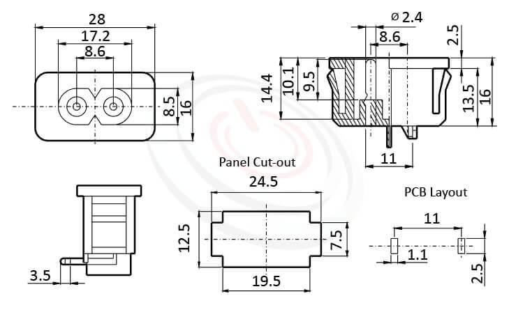 JR-201SPCB-AC 尺寸圖 交流插座AC INLET/OUTLET ,2PIN,90度 90° DIP,IEC 60320 C8,8字型,PCB插版,AC-020 DB-8 R-201A,AC INLET,安規UL,cUL,ENEC,VDE,CCC,