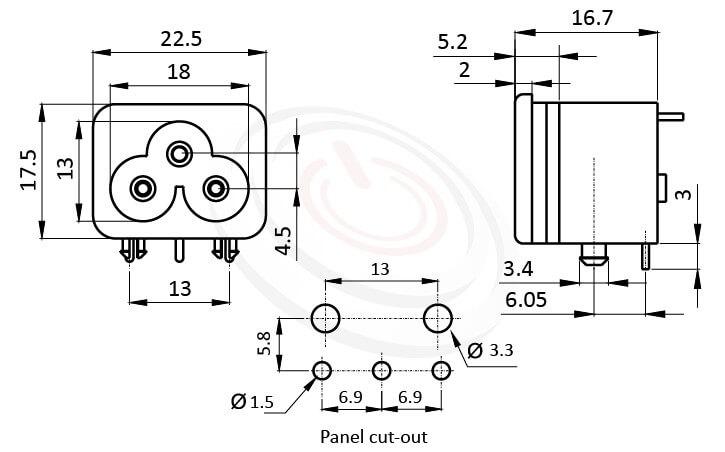 JR-307E-AC 尺寸圖 AC電源插座AC INLET ,3PIN,90度 90° DIP,IEC 60320 C6,米老鼠型插座,PCB插版,AC-024B DB-6 R-30790,AC INLET,安規VDE,CCC,UL,cUL,ENEC,