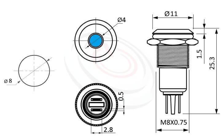 ML08-2A Series金屬LED指示燈(Metal LED Indicator) 概略尺寸圖,標示外型長度標示金屬LED指示燈(Metal LED Indicator) 的外型長度,信號燈 指示燈 metal LED Pilot Lamp,弧柄LED 指示燈,各式尺寸長度可靈活應用 | MP16TECH提供您最完整的防水金屬指示燈金屬按鈕開關產品與服務