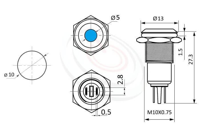 ML10-2AR Series-LED金屬指示燈-IP65以上防水等級,信號燈 指示燈 metal LED Pilot Lamp,10mm孔徑,耐腐蝕 抗腐蝕 LED 指示燈,LED金屬指示燈,多種燈色可選,cmp pbm mpb itw pbm10i,弧面點狀燈| MP16TECH提供您最完整的防水金屬指示燈金屬按鈕開關產品與服務