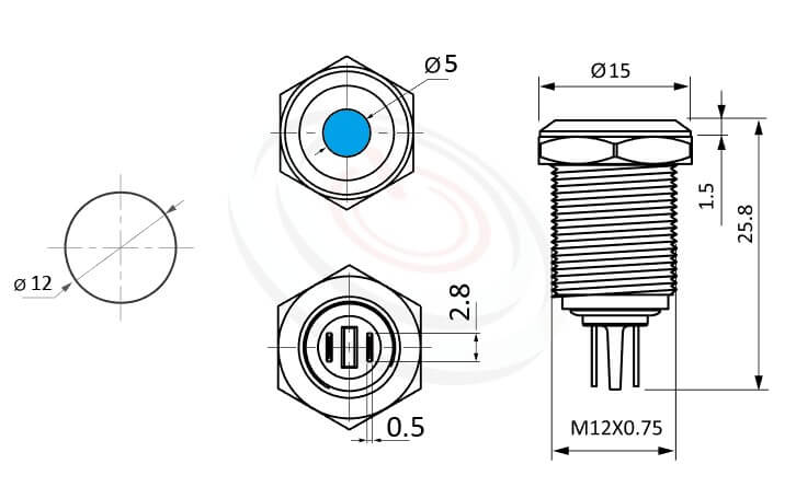 ML12-2AR Series概略尺寸圖,標示金屬外殼LED指示燈的外型長度,信號燈 指示燈 metal LED Pilot Lamp,弧柄LED 指示燈,給客戶驚豔的第一吸睛印象| MP16TECH提供您最完整的防水金屬指示燈金屬按鈕開關產品與服務