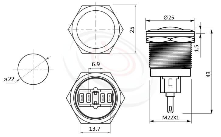 MP22-4ZR Series概略尺寸圖,標示控制按鈕開關 押扣開關的外型長度,,弧型,防水防塵防破壞,極致防護 防水防塵防化學腐蝕,對應KPB22,MPB22,MPS22,MW22,HK22B,HKYB22B,pbm22,cmp,J22,EJ22,bpb,mp22n,ft-22,lb22b,qn22,GQ22,LAS4GQ不帶燈金屬外殼電源按鈕,材質-黃銅,鋁合金,不銹鋼