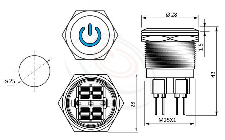 MP25-6ZP Series概略尺寸圖,標示照光式LED金屬按鈕,雙極性LED的外型長度,,平柄,IP65以上的防水等級 防水防塵防化學腐蝕,可對照於KPB25,MPB25,MPS25,MW25,HK25B,HKYB25B,J25,EJ25,GQ25,pbm25,cmp,bpb,mp25n,ft-25,lb25b,qn25power符號燈,材質-黃銅鍍鎳,不鏽鋼,鋁合金