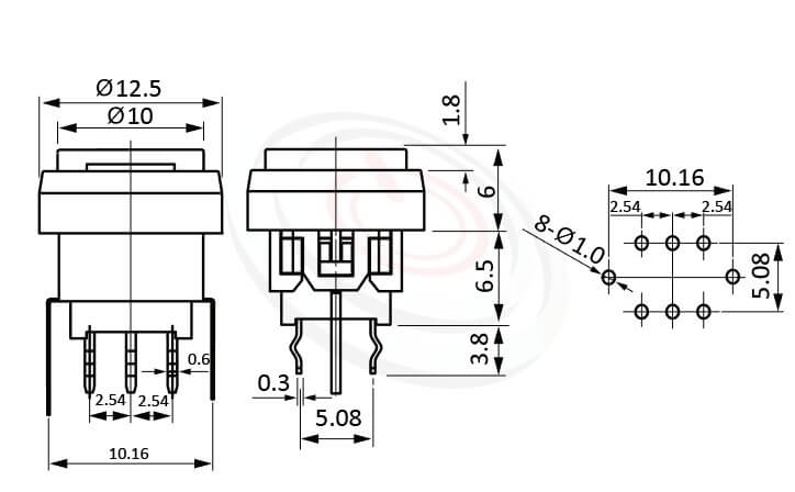 PB-310-1T5W系列 尺寸圖 自鎖帶燈開關 Lock Illuminated Switch ,Φ10 按鍵面 ,尺寸 8.5x8.5,版上高度12.5mm ,圓形鍵帽,立式,DIP ,帶燈圓形帽蓋