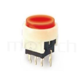 PB-310-1T5W 系列-LED自鎖按鈕開關Lock LED Push button ,圓形鍵帽,立式,DIP ,帶燈圓形帽蓋 ,尺寸 8.5x8.5,版上高度12.5mm ,Φ10 按鍵面