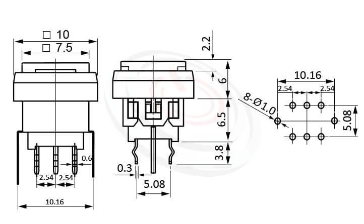 PB-310-3T1B系列 尺寸圖 LED自鎖按鈕開關Lock LED Push button ,7.5x7.5 按鍵面 ,尺寸 8.5x8.5,版上高度12.5mm ,方形鍵帽,立式,DIP ,帶燈方形帽蓋