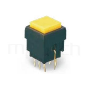 PB-310-3T1B 系列-帶燈自鎖按鈕開關Illuminated Push Button ,方形鍵帽,立式,DIP ,帶燈方形帽蓋 ,尺寸 8.5x8.5,版上高度12.5mm ,7.5x7.5 按鍵面