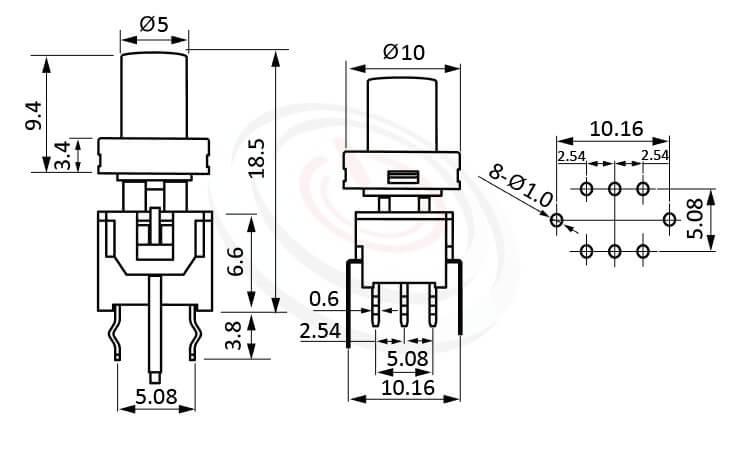 PB-310-6T系列 尺寸圖 帶燈開關 Illuminated Pushbuttons ,Φ 5 按鍵面 ,尺寸 8.5x8.5,版上高度18.5mm ,圓柱形鍵帽,立式,DIP ,帶燈圓形帽蓋