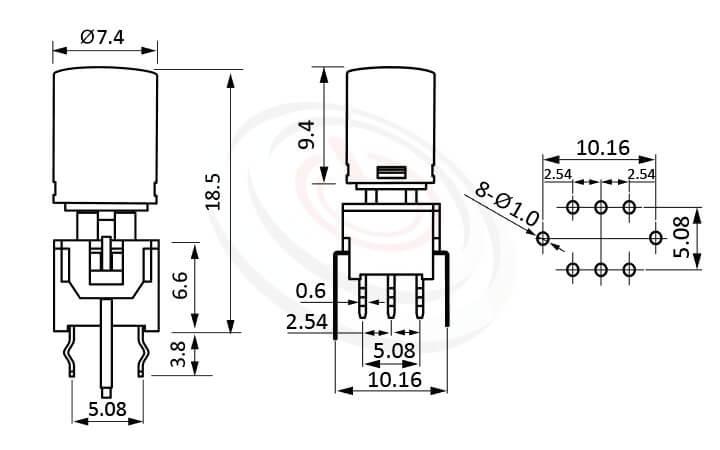 PB-310-AT系列 尺寸圖 帶燈開關 Illuminated Pushbuttons ,Φ7.4 按鍵面 ,尺寸 8.5x8.5,版上高度18.5mm ,圓柱形鍵帽,立式,DIP ,帶燈圓形帽蓋