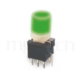PB-310-AT 系列-帶燈自鎖按鈕開關Illuminated Push Button ,圓柱形鍵帽,立式,DIP ,帶燈圓形帽蓋 ,尺寸 8.5x8.5,版上高度18.5mm ,Φ7.4 按鍵面