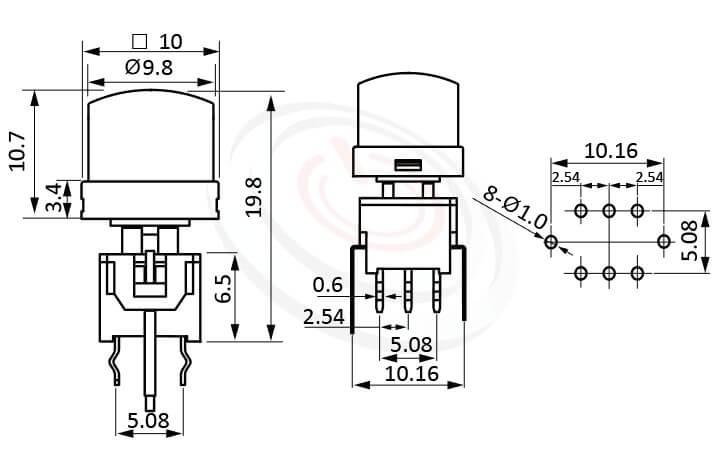 PB-310-B1D系列 尺寸圖 帶燈自鎖按鈕開關Illuminated Push Button ,Φ10 按鍵面 ,尺寸 8.5x8.5,版上高度19.8mm ,圓形鍵帽,立式,DIP ,帶燈圓形帽蓋