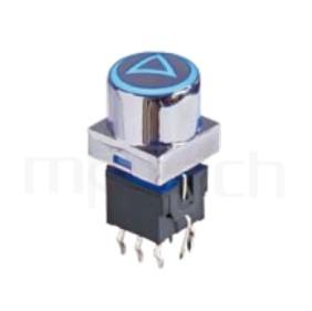 PB-310-B1D 系列-帶燈自鎖開關 Lock LED Push Switch ,圓形鍵帽,立式,DIP ,帶燈圓形帽蓋 ,尺寸 8.5x8.5,版上高度19.8mm ,Φ10 按鍵面