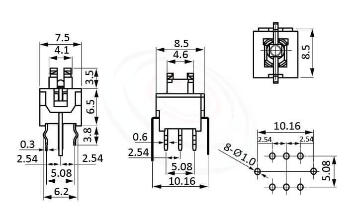 PB-310系列 尺寸圖 自鎖帶燈按鈕開關lock LED Pushbutton Switch ,4x5 按鍵面 ,尺寸 8.5x8.5,版上高度10mm ,無鍵帽,立式,DIP ,可搭配帽蓋