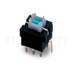 PB-310 系列-自鎖帶燈按鈕開關lock LED Pushbutton Switch ,無鍵帽,立式,DIP ,可搭配帽蓋 ,尺寸 8.5x8.5,版上高度10mm ,4x5 按鍵面
