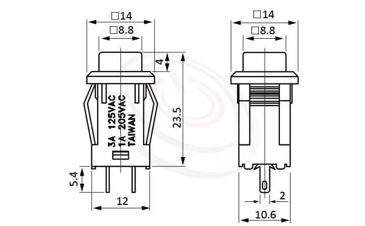 PS-301系列 尺寸圖 自鎖按鍵開關Lock Push Switch ,OFF-ON,SPST,1P1T迴路,總長度29mm ,方形,卡式,焊線 ,自鎖/有段