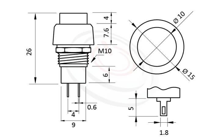 PS-302系列 尺寸圖 自鎖按鈕開關Lock Push Button Switch ,OFF-ON,SPST,1P1T迴路,總長度31mm ,圓形, 螺母固定 ,自鎖/有段