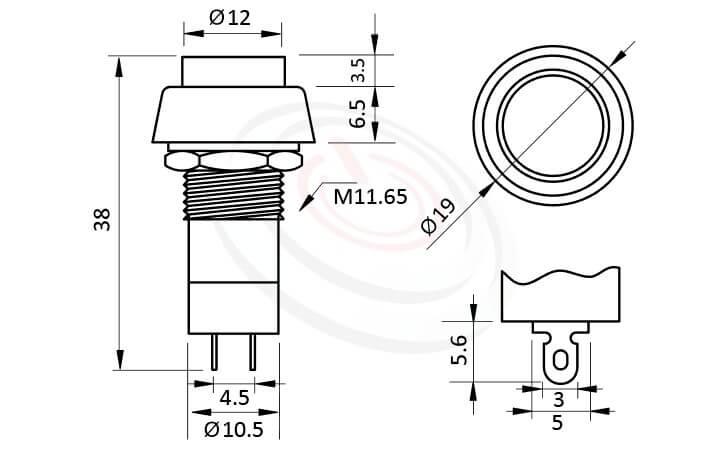 PS-304系列 尺寸圖 自鎖按鈕開關Lock Push button Switch,OFF-ON,SPST,1P1T迴路,總長度38mm ,圓形, 螺母固定 ,自鎖/有段