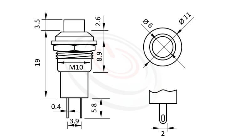 PS-305系列 尺寸圖 自鎖按鈕開關Lock Push Switch ,OFF-ON,SPST,1P1T迴路,總長度28mm ,圓形, 螺母固定 ,自鎖/有段