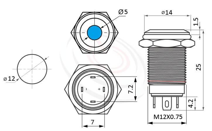 MP12-4ZA Series概略尺寸圖,標示帶燈金屬按鈕的外型長度,平圓型,IP65以上的防水等級,12mm,Φ12,1NO,Lock,帶燈,平面點狀 | LED照光金屬開關,多種顏色可選,點狀燈,|防水/防塵/防化學腐蝕,一組常開接點,有鎖,平面,帶燈金屬按鈕開關,多種顏色可選,單點狀,面板外徑14mm 平面按鈕容易清潔