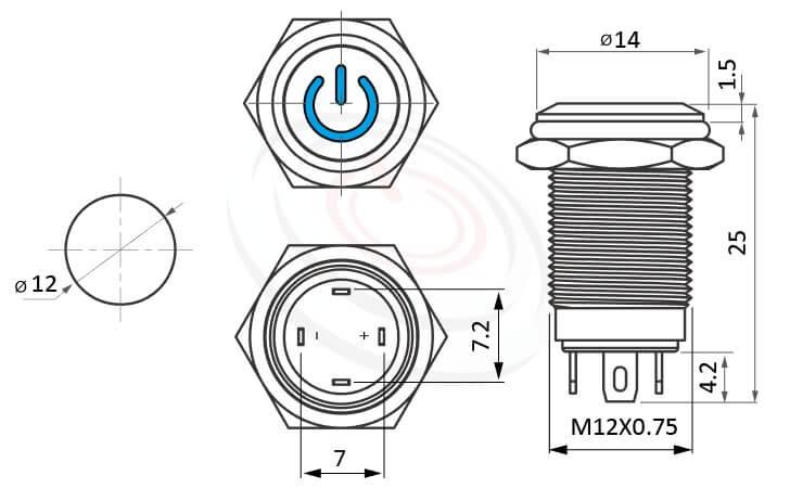 MP12-4ZP Series概略尺寸圖,標示照光式金屬按鈕的外型長度,,平圓形中間啟動電源符號,各式尺寸長度可靈活應用,天使眼金屬開關,Φ12 開孔尺寸,自復自鎖改裝按鈕 面板外徑14mm | MP16TECH提供您最完整的防水金屬按鈕開關產品與服務