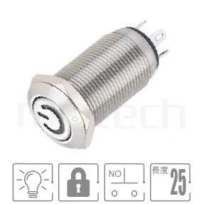 MP12-4ZP Series-照光金屬按鈕| 防水、防破壞,Φ12 開孔尺寸,1NO,有段,平頭,LED金屬按鈕帶燈,六種燈色可選--紅、綠、藍、白、橘、黃,power符號燈, 天使眼金屬開關,Φ12 開孔尺寸,自復自鎖改裝按鈕 面板外徑14mm | MP16TECH提供您最完整的防水金屬按鈕開關產品與服務