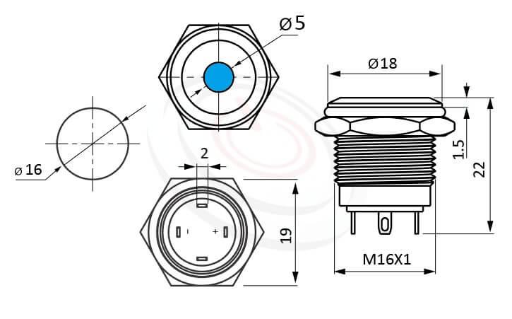 MP16-4MA Series概略尺寸圖,標示帶燈LED金屬按鈕,內建LED限流電阻的外型長度,短按鈕,平圓型,眼睛為之一亮的開關新選擇,平面點狀防水/防塵/防化學腐蝕,ft-16,lb16b,J16,EJ16,qn16,GQ16,MPB16,HK16B,HKYB16B,LAS2GQ,pbm16,cmp,bpb,mp16nDot,材質-SUS,鋁合金,金屬外殼