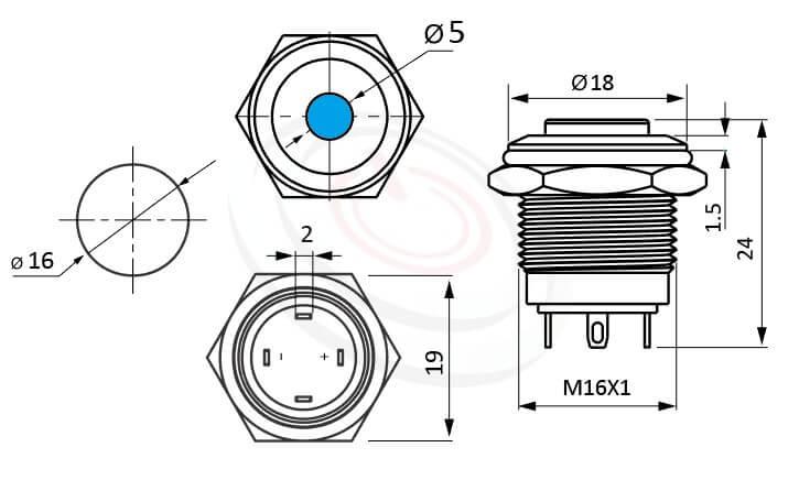 MP16-4MV Series概略尺寸圖,標示帶燈LED金屬按鈕,內建LED限流電阻的外型長度,短款,高圓柄,給客戶驚豔的第一吸睛印象,高平面點狀-IP/IK防護,ft-16,lb16b,J16,EJ16,qn16,GQ16,MPB16,HK16B,HKYB16B,LAS2GQ,pbm16,cmp,bpb,mp16n圓點型,材質-外殼金屬,不鏽鋼,不銹鋼