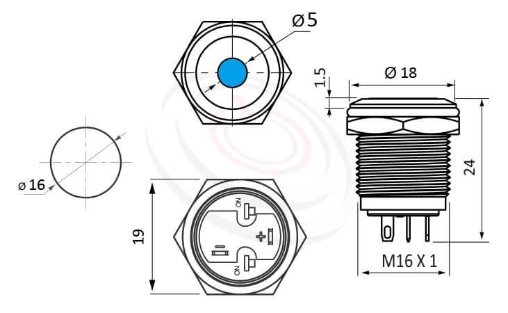 MP16-4ZA Series概略尺寸圖,標示照光式LED金屬按鈕,雙極性LED的外型長度,短柄,平柄,更靈活彈性的燈色燈壓選擇,平面點狀 防水、防破壞、耐腐蝕,J16,EJ16,MPB16,HK16B,HKYB16B,GQ16,LAS2GQ,pbm16,cmp,bpb,mp16n,ft-16,lb16b,qn16點狀燈,材質-SUS不鏽鋼,黃銅,鋁殼