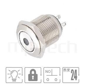 MP16-4ZA Series-照光式LED金屬按鈕,雙極性LED防水、防破壞、耐腐蝕,短柄,16mm,一組常開接點1NO,自鎖,平柄,帶燈金屬開關,燈色任選,單點型DotGQ16,J16,EJ16,LAS2GQ,pbm16,cmp,MPB16,HK16B,HKYB16B,bpb,mp16n,ft-16,lb16b,qn16,材質-黃銅,鋁合金,不銹鋼,自鎖 防塵防水防化學腐蝕| MP16TECH提供您最完整的防水金屬按鈕開關產品與服務