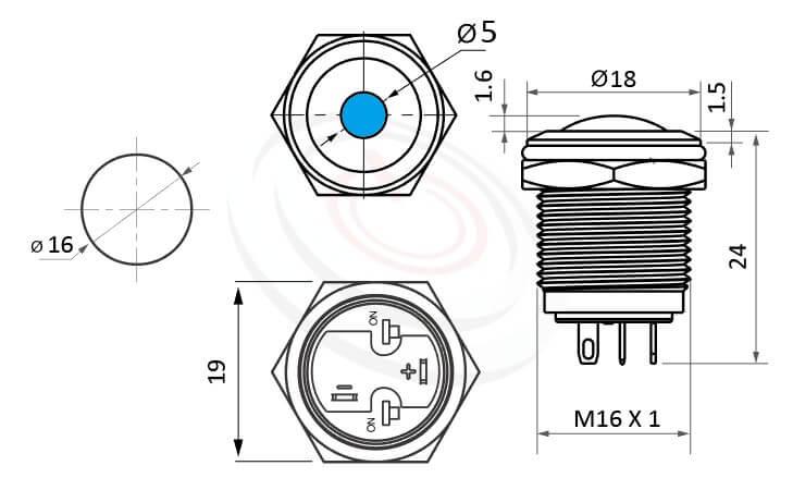 MP16-4ZD Series概略尺寸圖,短款,小型化,球面,弧形,球面,帶燈金屬開關, 單點發光,標示帶燈金屬開關,LED雙極性正反都可接的外型長度,短柄,弧型,金屬質感,氣勢非凡,球面點狀防水防暴安全防護,J16,EJ16,MPB16,HK16B,HKYB16B,GQ16,LAS2GQ,pbm16,cmp,bpb,mp16n,ft-16,lb16b,qn16單點型,材質-黃銅,鋁合金,不銹鋼,亮眼外觀,引人注目