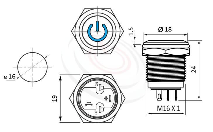 MP16-4ZP Series概略尺寸圖,標示LED帶燈照光金屬開關,雙向極性,LED正反可接的外型長度,小型,短款開關,平鈕,給客戶驚豔的第一吸睛印象,平面電源符號-IP/IK防護,GQ16,LAS2GQ,pbm16,cmp,bpb,J16,MPB16,HK16B,HKYB16B,mp16n,ft-16,lb16b,qn16POWER LOGO,材質-鋁合金,不鏽鋼,黃銅