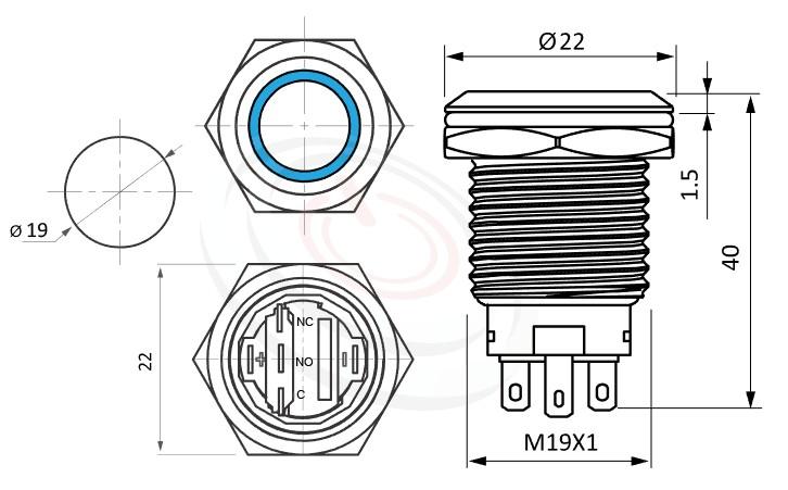 MP19-5MFX Series概略尺寸圖,標示黑色金屬外殼有燈金屬按鈕的外型長度,平圓形,黑色外殼,可客製/雷雕按鍵圖案,照光式LED金屬按鈕,雙極性LED的外型長度,,平圓型,金屬質感,氣勢非凡防水、防破壞、耐腐蝕,對應於GQ19,MPB19,MPS19,MW19,HK19B,HKYB19B,LAS1-BGQ,J19,EJ19,pbm19,cmp,bpb,mp19n,ft-19,lb19b,qn19,LAS1-AGQ,LAS1GQ平面,材質-不鏽鋼SUS,金屬外殼