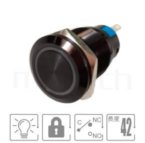 MP19-5ZFX Series-氧化黑金屬按鈕-黑色金屬外殼,特殊色金屬殼,黑色按鈕開關,鋁陽極處理,氧化黑,孔徑19mm,1NO1NC1COM,自鎖,平圓形,照光式金屬按鈕,環型帶燈,平面環形燈