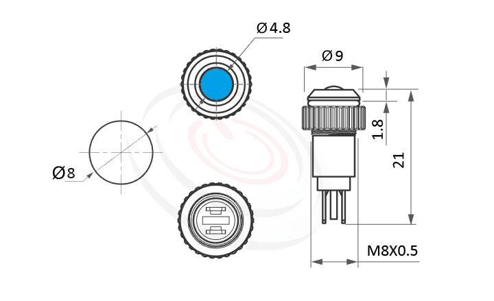 ML08-2AD Series概略尺寸圖,標示金屬LED指示燈(Metal LED Indicator) 的外型長度,信號燈 指示燈 metal LED Pilot Lamp,烤爐指示燈 烤箱信號燈 高亮度LED 指示燈,給客戶驚豔的第一吸睛印象  MP16TECH提供您最完整的防水金屬指示燈金屬按鈕開關產品與服務