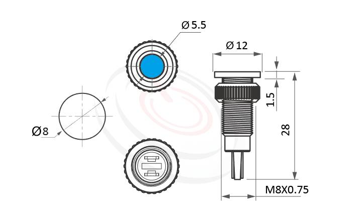 ML08-2AF Series概略尺寸圖,標示金屬LED指示燈(Metal LED Indicator) 的外型長度,信號燈 指示燈 metal LED Pilot Lamp,平柄LED 指示燈,眼睛為之一亮的開關新選擇 | MP16TECH提供您最完整的防水金屬指示燈金屬按鈕開關產品與服務